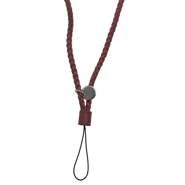Bottega Veneta Brown Intrecciato Leather Phone Strap