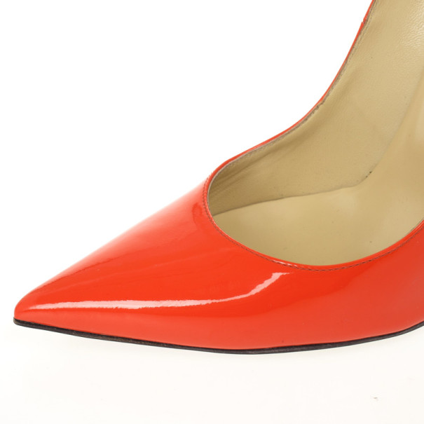 Jimmy Choo Orange Patent Anouk Pointed Toe Pumps Size 37