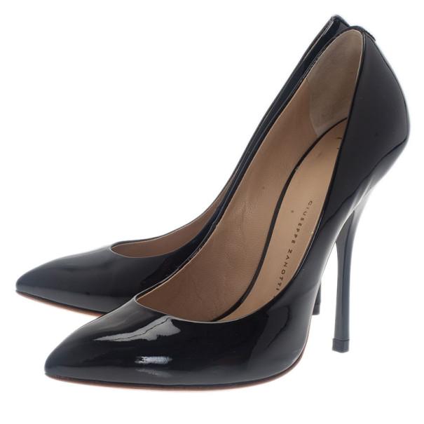 Giuseppe Zanotti Black Patent Pointed Toe Pumps Size 37.5