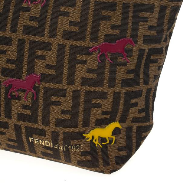 Fendi Tobacco Zucca Canvas 'Roll' Horse Detail Tote