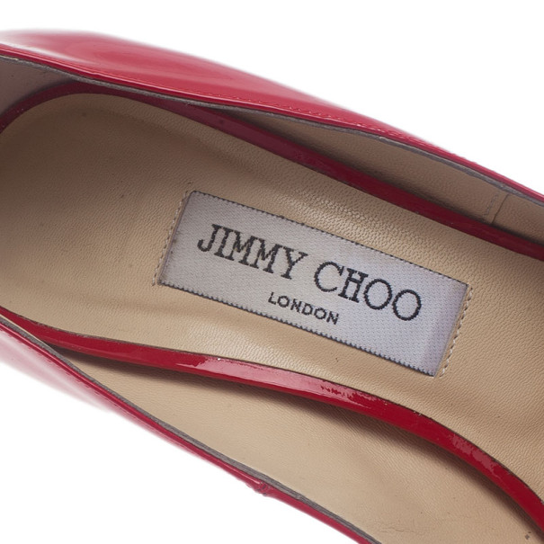 Jimmy Choo Red Patent Leather Quiet Peep Toe Pumps Size 38