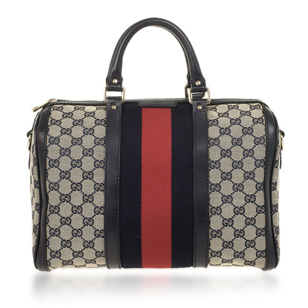 Gucci Navy Blue GG Canvas Vintage Web Medium Boston Shoulder Bag