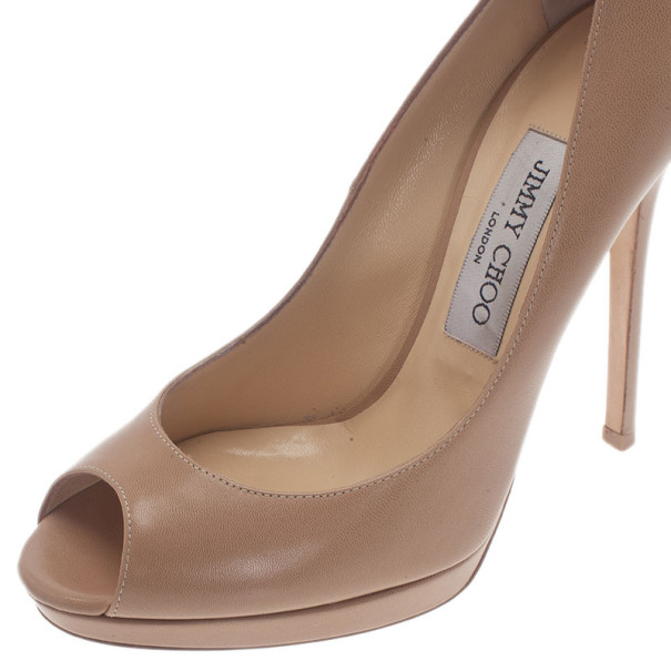Jimmy Choo Nude Leather Quiet Peep Toe Pumps Size 37.5