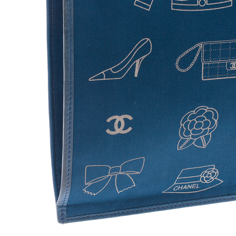 Chanel Blue Cotton Vintage Printed Tote Bag