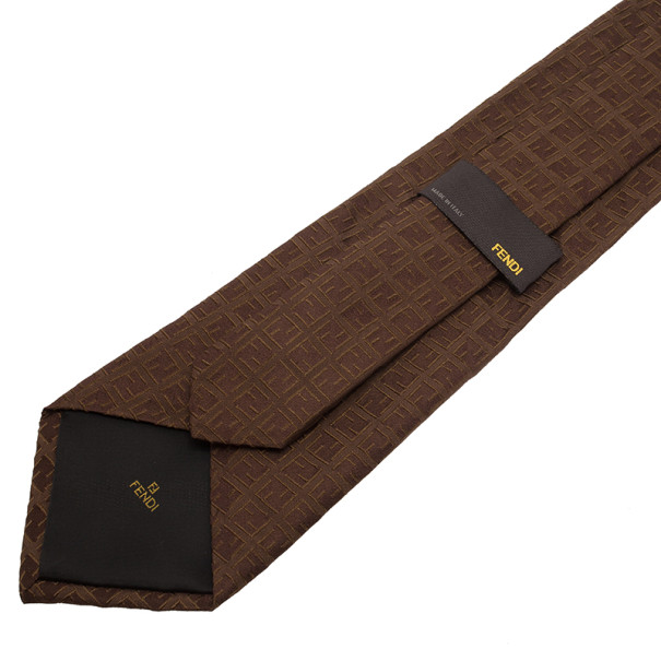 Fendi Brown FF Embroidered Silk Tie