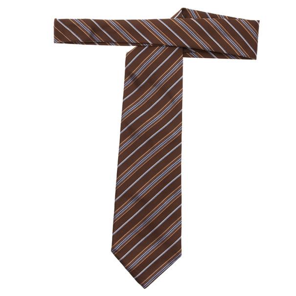 Fendi Brown Striped Silk Tie