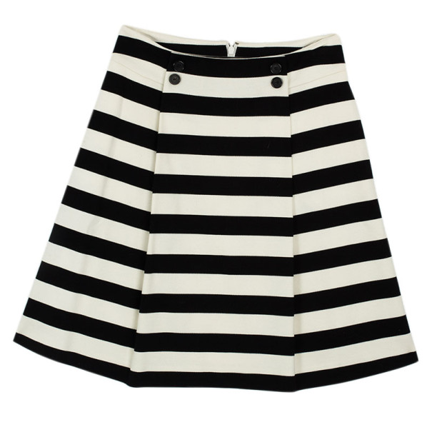 Christian Dior Black & White Striped Skirt S
