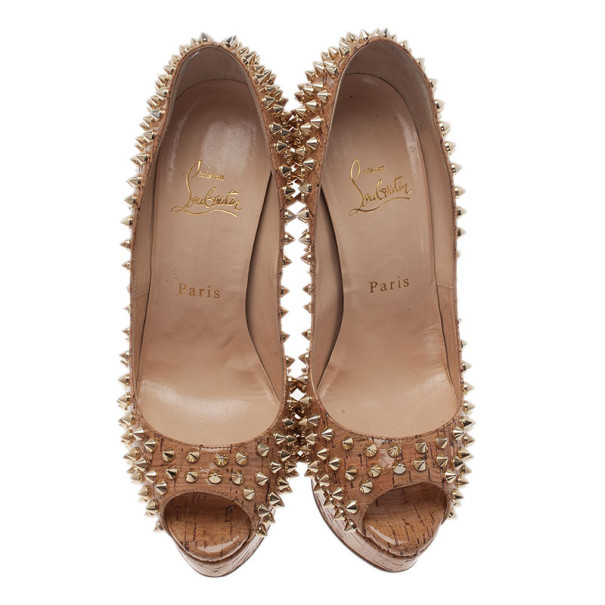 Christian Louboutin Cork Lady Peep Toe Spike Pumps Size 38