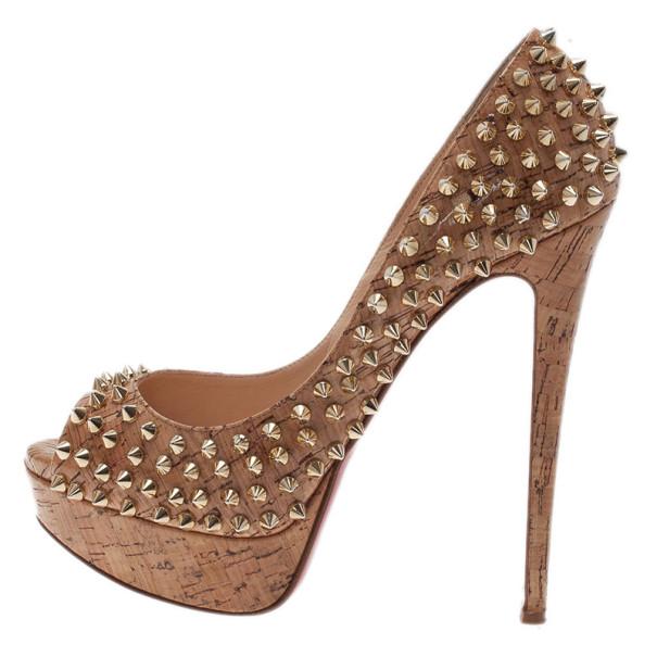Christian Louboutin Cork Lady Peep Toe Spike Pumps Size 38