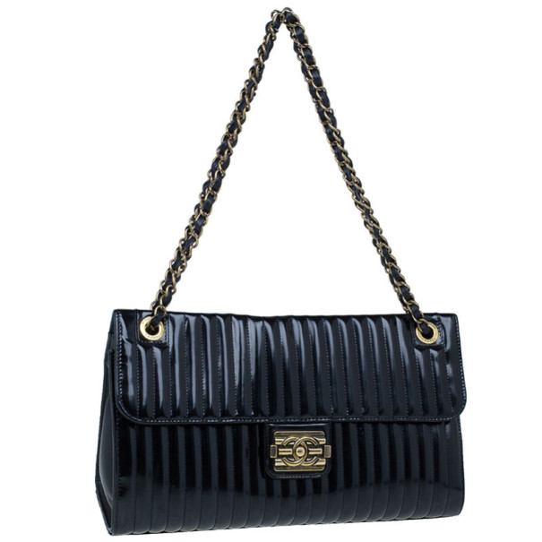 Chanel Black Patent Vertical Stripe Maharajah Flap Bag