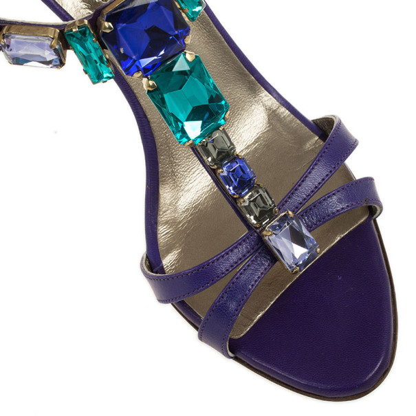 Valentino Purple Crystal T Strap Sandals Size 37.5