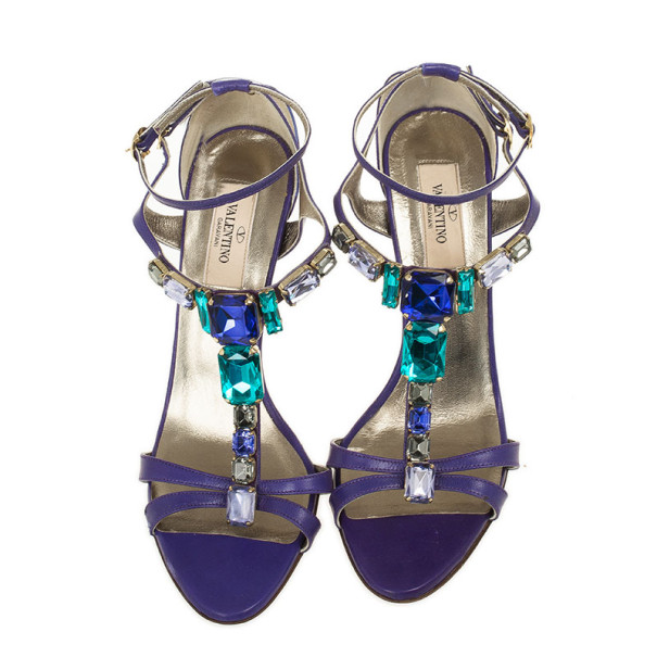 Valentino Purple Crystal T Strap Sandals Size 37.5