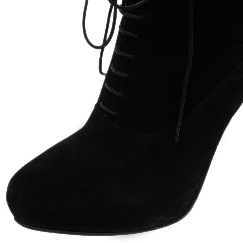 Prada Black Suede Lace Up Pointed Toe Ankle Boots Size 39