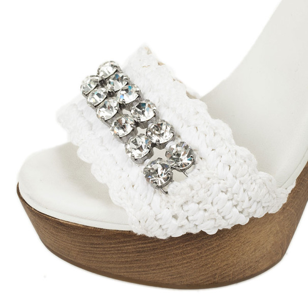 Dolce and Gabbana White Crystal Wooden Mules Size 38
