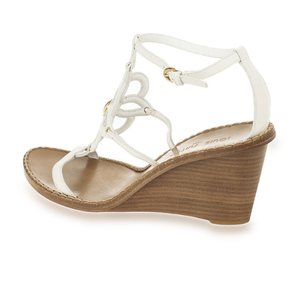 Louis Vuitton White Leather Fidji Wedges Sandals Size 41