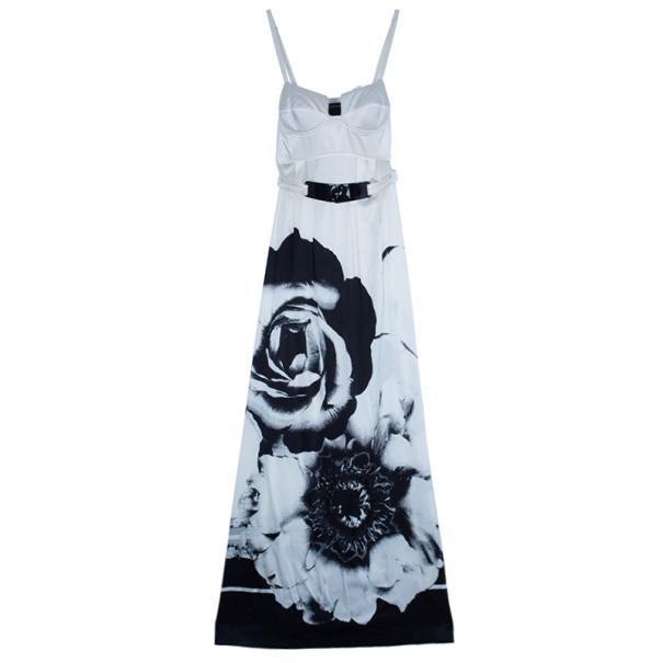 Class by Roberto Cavalli Monochrome Satin Maxi Dress M