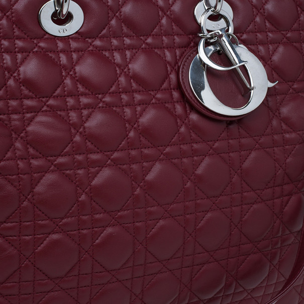 Dior Red Leather XL Large Lady Dior