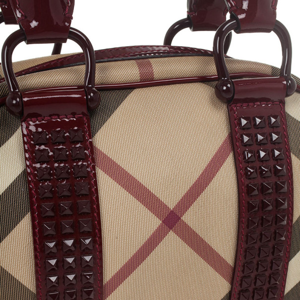 Burberry Nova Check Studded Mini Dome Satchel