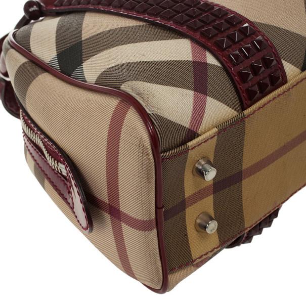 Burberry Nova Check Studded Mini Dome Satchel