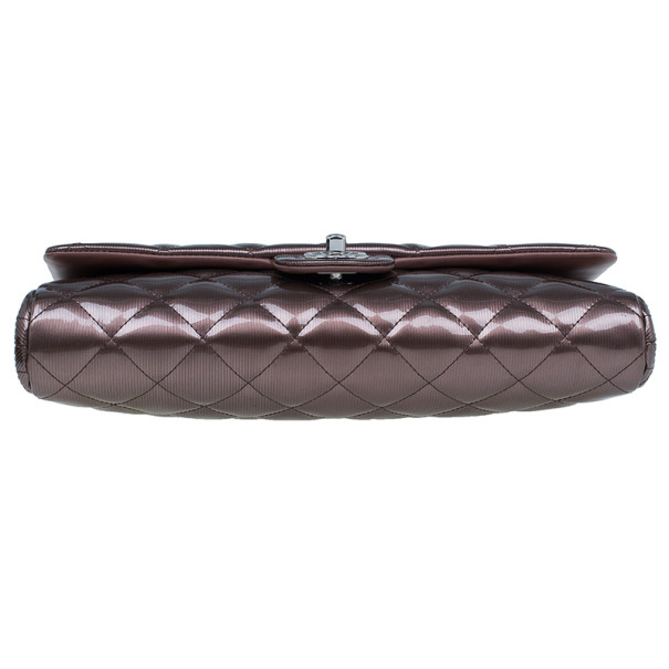 Chanel Bronze Patent Leather Chain Clutch