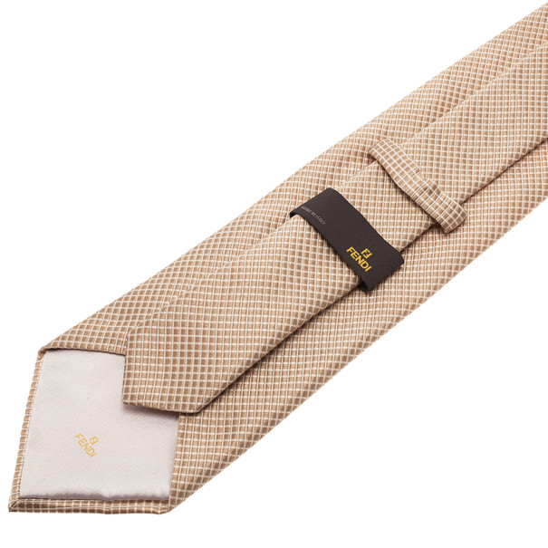 Fendi Gold Embroidered Silk Tie