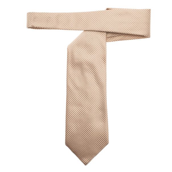 Fendi Gold Embroidered Silk Tie