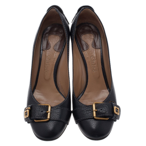 Chloe Black Leather Buckle Pumps Size 38