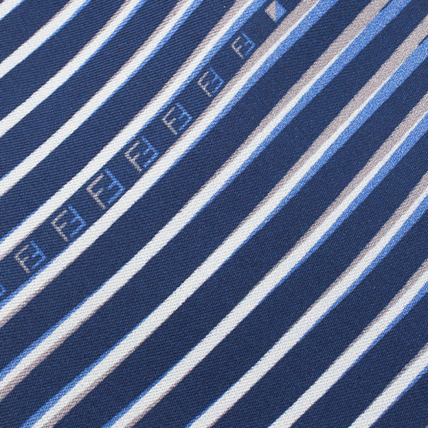 Fendi Blue Striped Silk Tie
