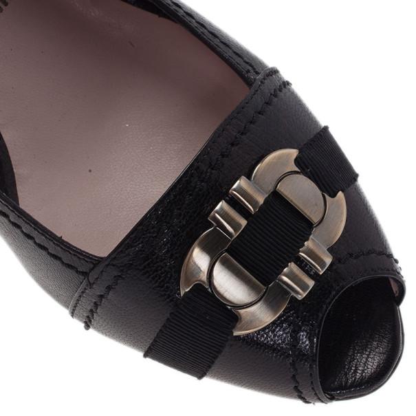 Salvatore Ferragamo Black Leather Gancini Bit Wedge Pumps Size 38.5
