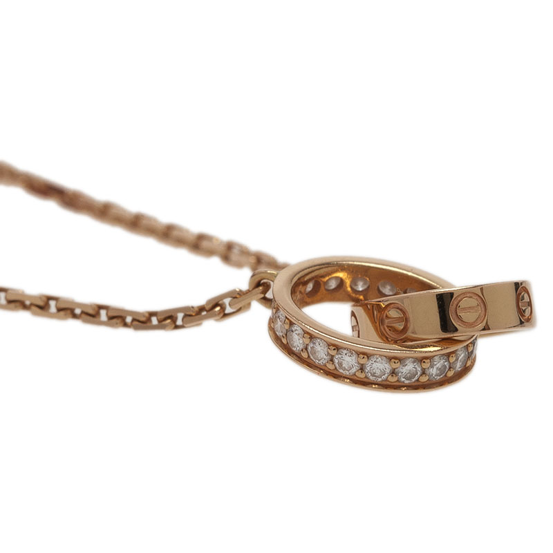 Cartier Love 2 Hoops Diamonds and Rose Gold Chain Necklace