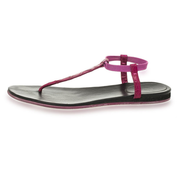 Gucci Purple Croc Embossed 'Areia' Thong Sandals Size 39