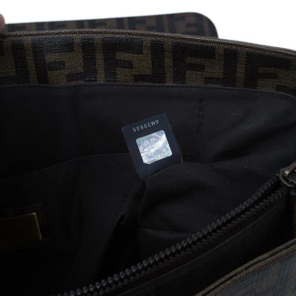 Fendi Tobacco Zucca Spalmati Canvas Messenger Bag