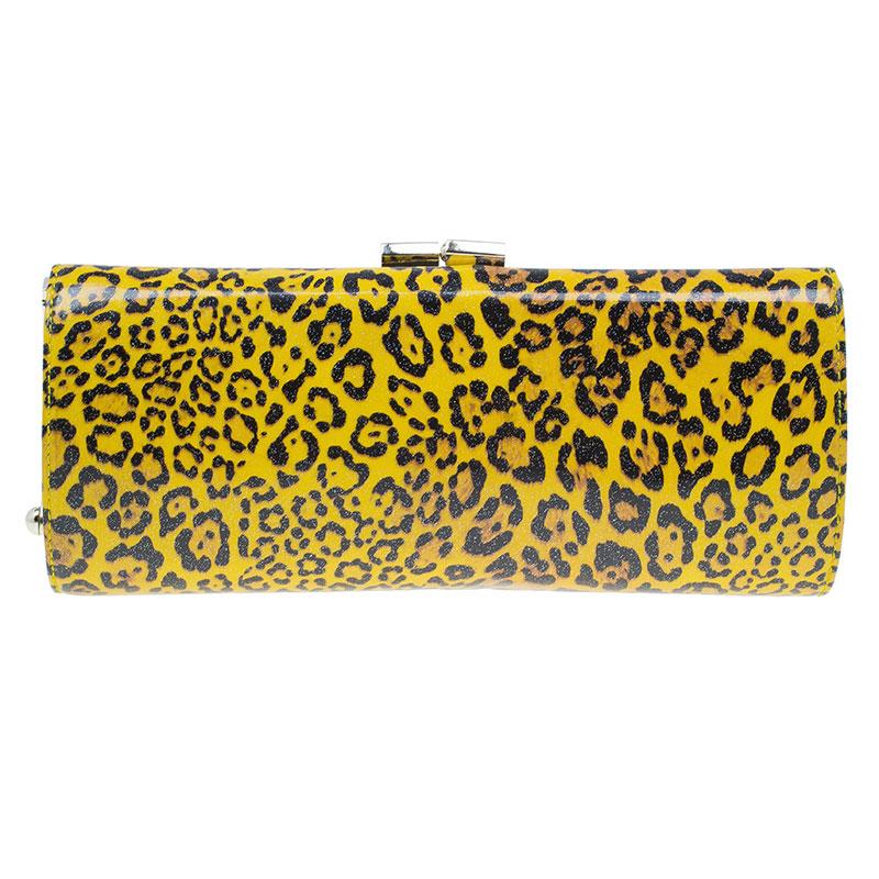 Jimmy Choo Yellow Patent Leopard Print Twill Tube Clutch