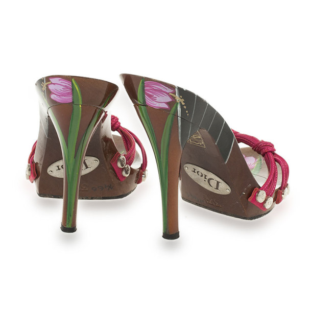 Christian Dior Hand Painted Lacquered Wooden Platform Mules Size 37.5