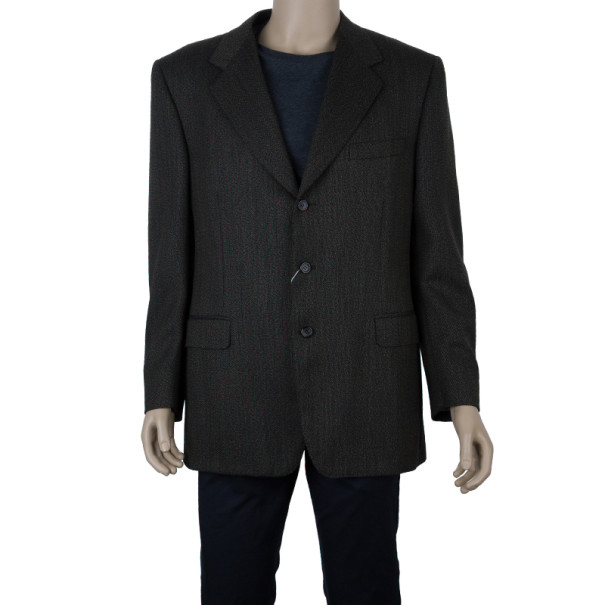 Celine Homme Brown Laine Wool Blazer Jacket EU52