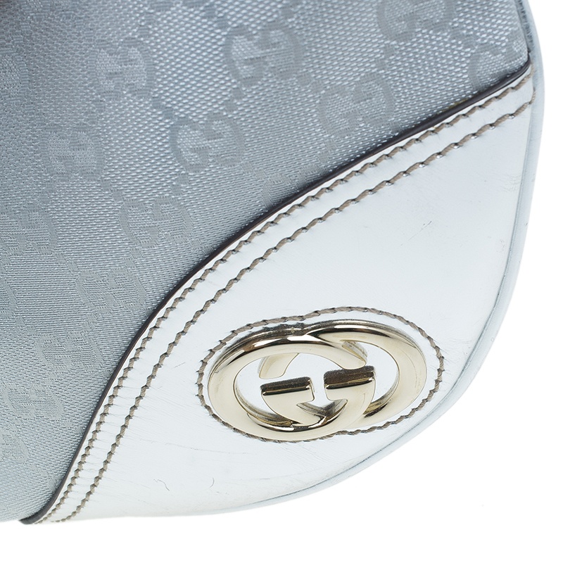 Gucci Silver Monogram Canvas Britt Messenger Bag
