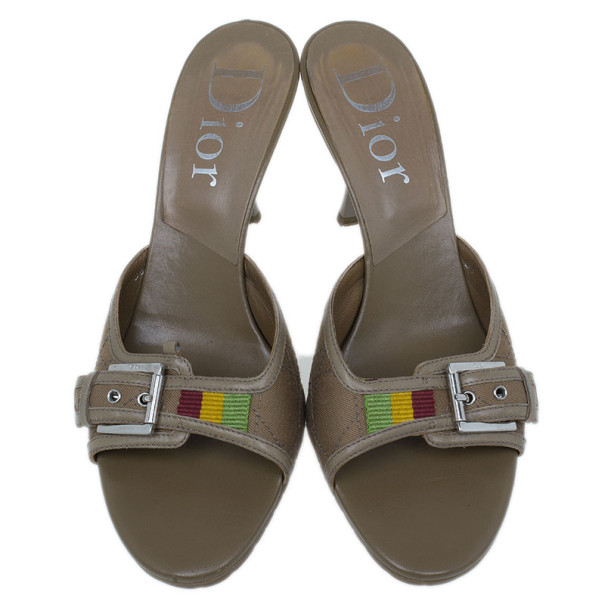 Dior Brown Cannage Leather Slides Size 38.5