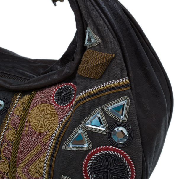 Chloe Brown Multicolored Embroidery Crescent Hobo