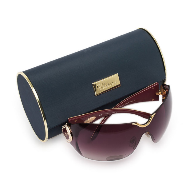 Chopard Gold Embossed Woman Shield Sunglasses