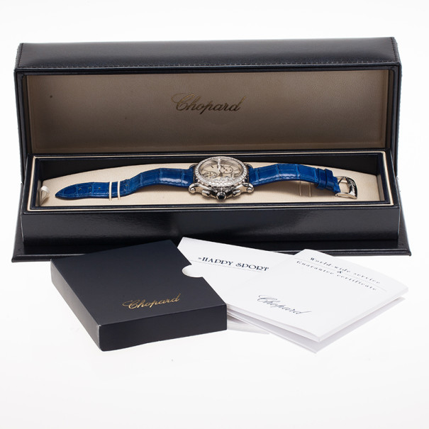 Chopard White Stainless Steel & Gold Happy Sport 288506-2001 Women's Wristwatch 40MM