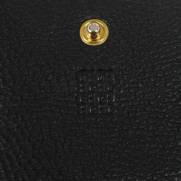 Carolina Herrera CH Black Leather Gigi Continental Wallet