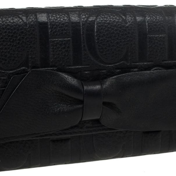 Carolina Herrera CH Black Leather Gigi Continental Wallet