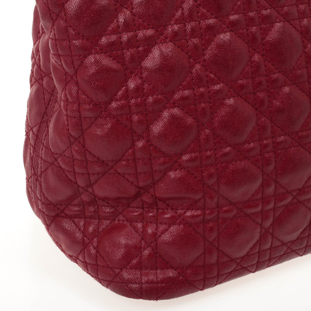 Christian Dior Cannage Quilted Coated Canvas Panarea Large Tote Bag