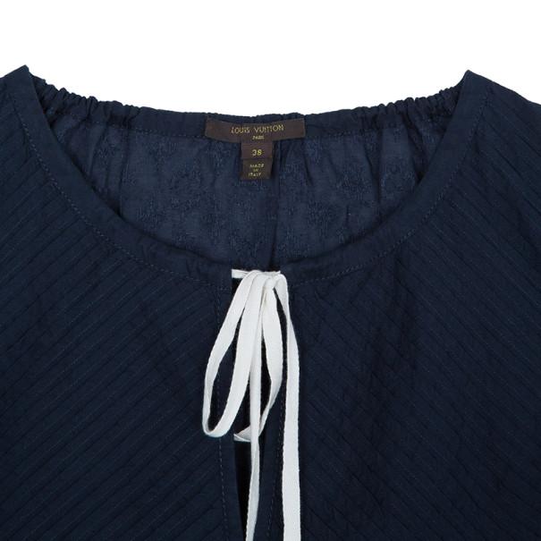 Louis Vuitton Navy Pleated Yoke Blouse S