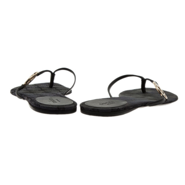 Gucci Black Leather GG Thong Sandals Size 36.5