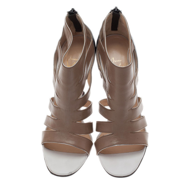 Christian Louboutin Beige Leather Beauty K Cage Sandals Size 38