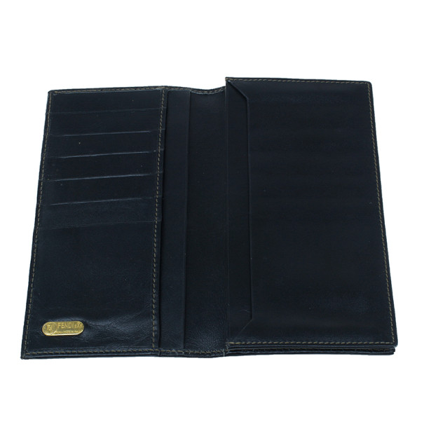 Fendi Black Striped Pequin Men Bifold Wallet