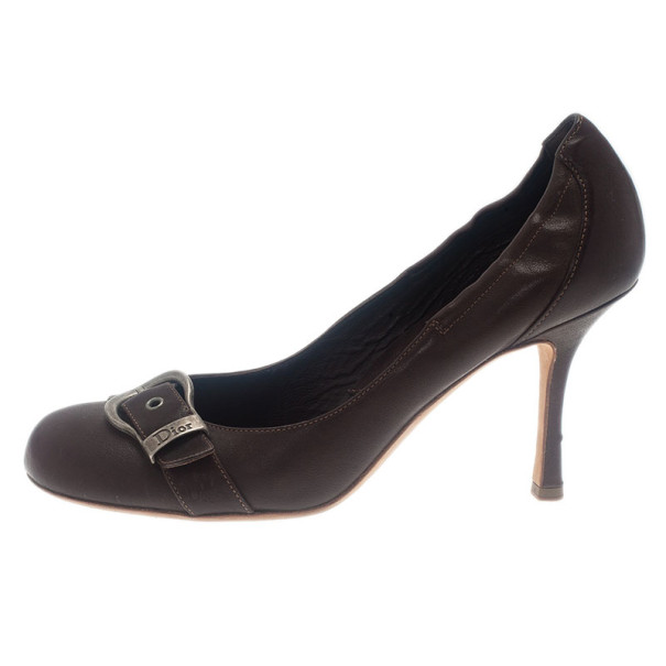 Dior Brown Leather Buckle Pumps Size 39