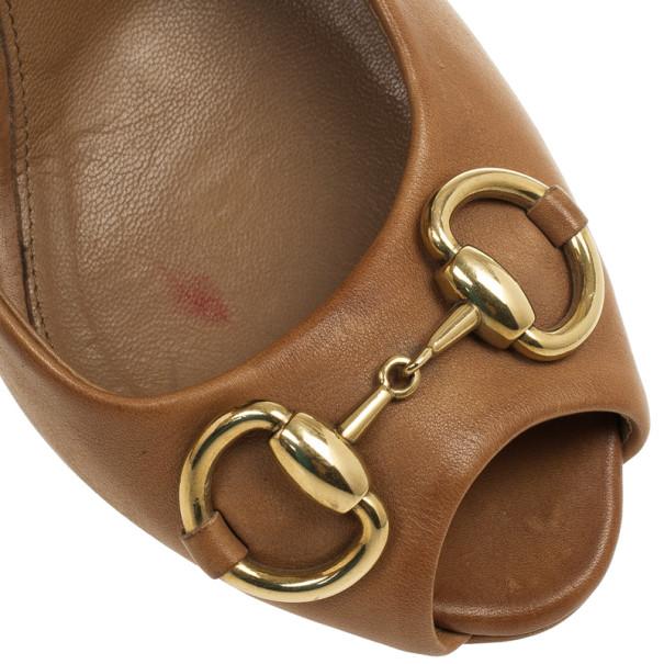 Gucci Beige Horsebit New Hollywood Peep Toe Pumps Size 36.5