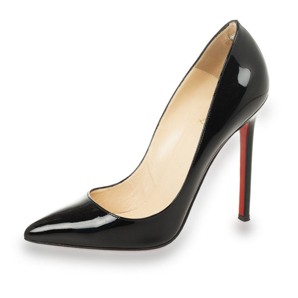 Christian Louboutin Black Patent Pigalle 120mm Pointed Toe Pumps Size 36.5